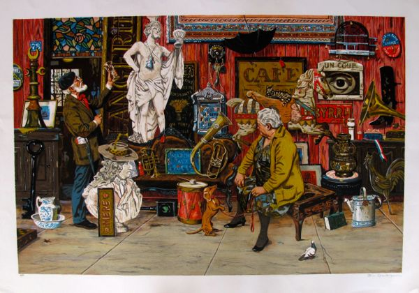 "BRUCE BOMBERGER ""ANTIQUE SHOP"" Hand Signed Limited Edition Lithograph"