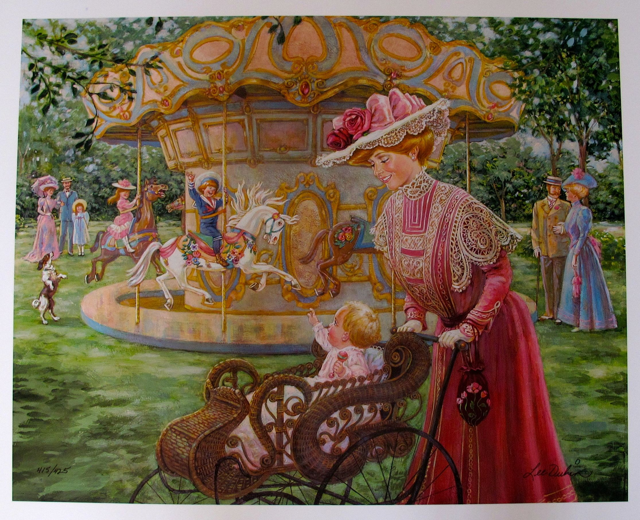 Lee Dubin SUNDAY RIDES Hand Signed Limited Edition Lithograph Carousel