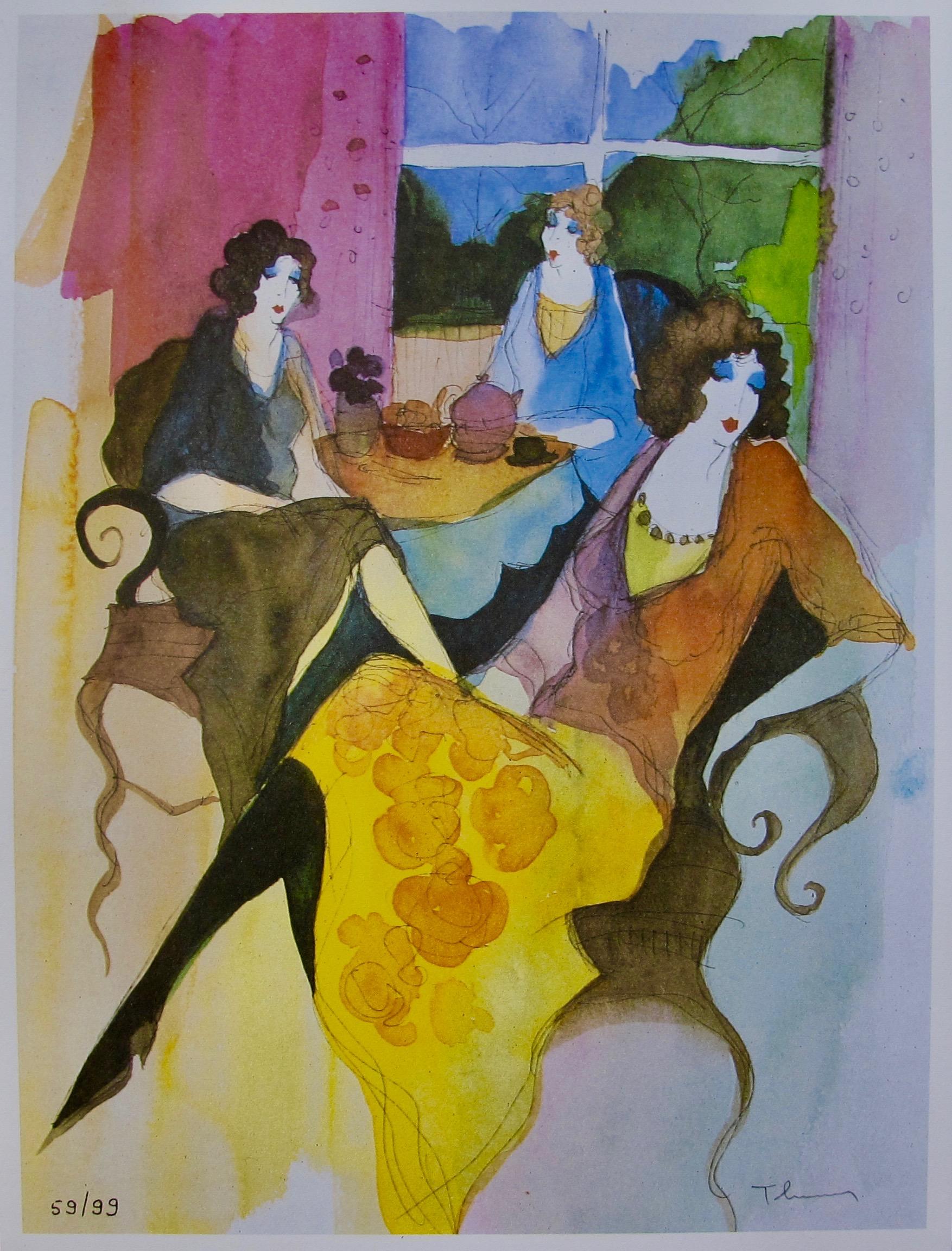 Itzchak Tarkay DISREGARDING Facsimile Signed Limited Edition Original Lithograph Art