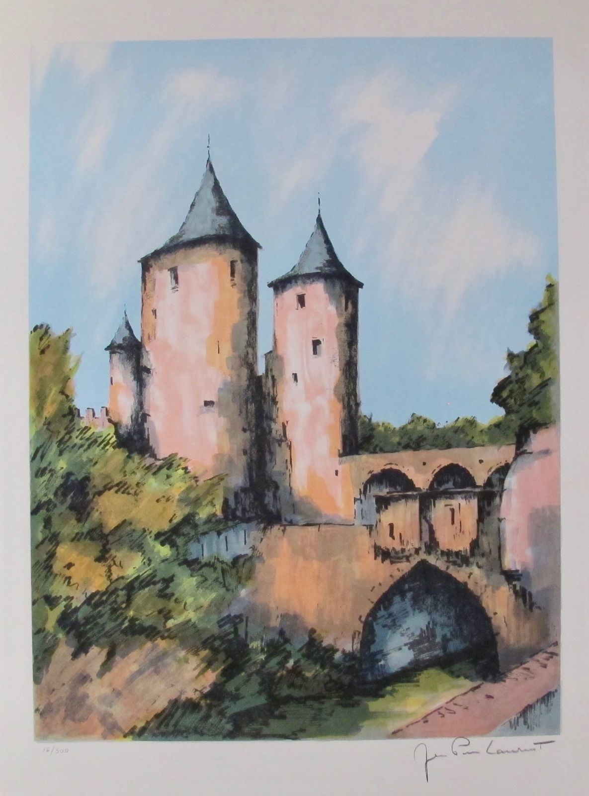 JEAN PIERRE LAURENT Castle above Bridge Hand Signed Limited Edition Lithograph FRANCE