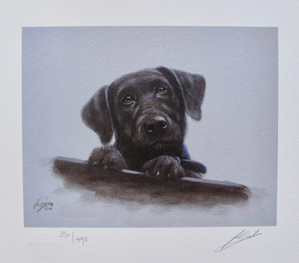 JOHN SILVER Black Lab Labrador Dog Hand Signed Limited Edition Lithograph