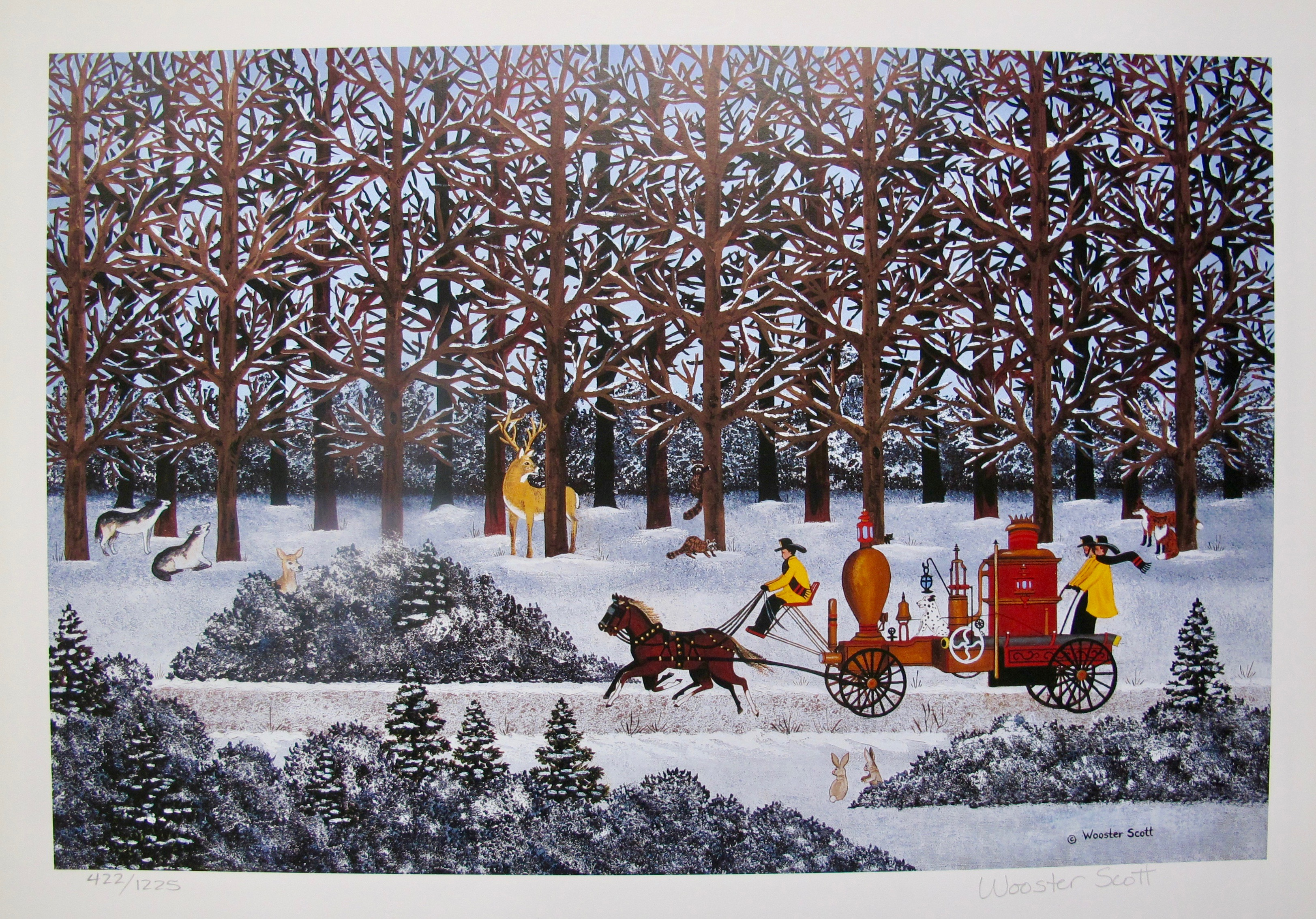 Jane Wooster Scott DASHING THROUGH THE SNOW Hand Signed Ltd Edition Lithograph