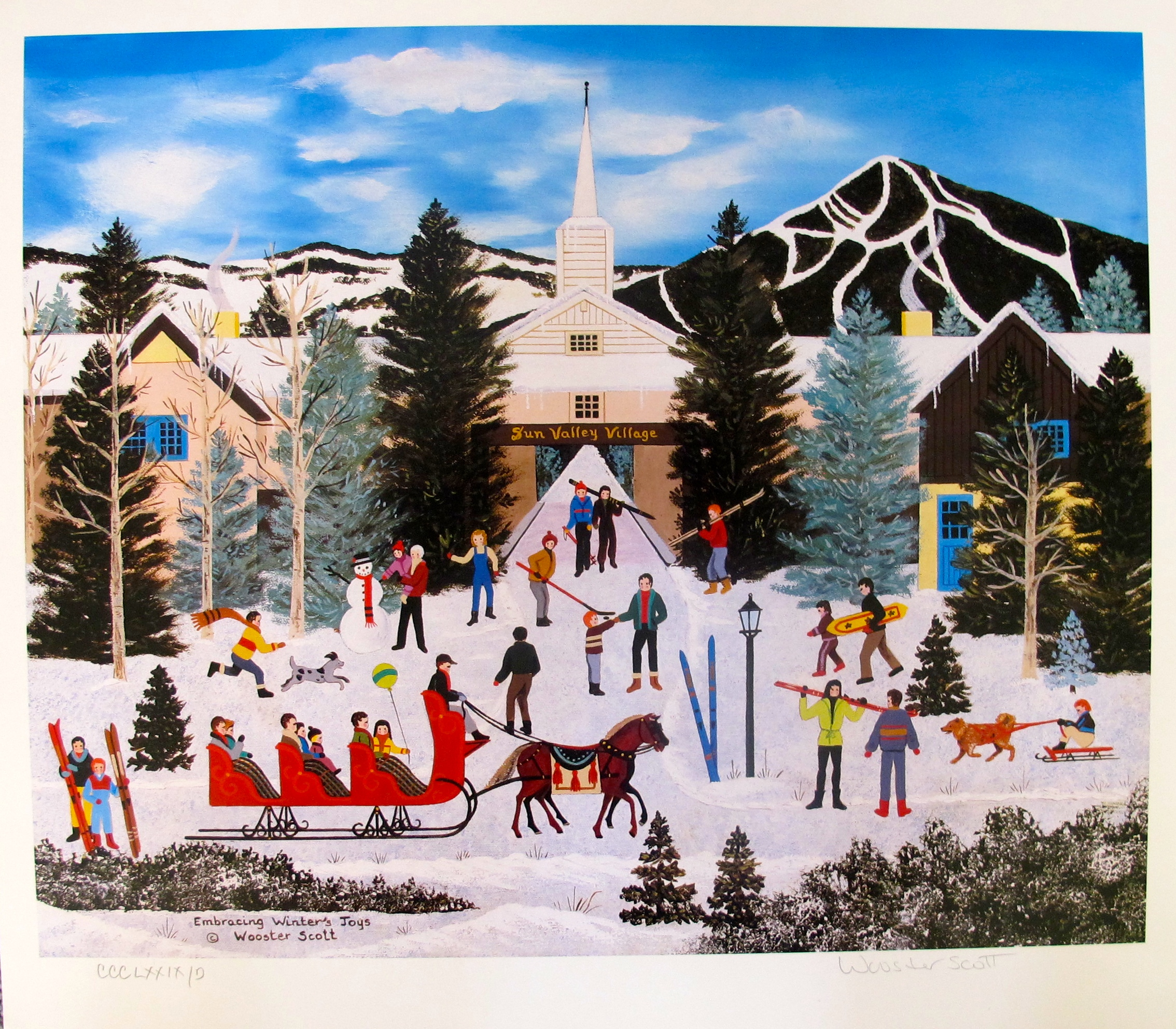 Jane Wooster Scott EMBRACING WINTER'S TOYS Hand Signed Limited Edition Lithograph