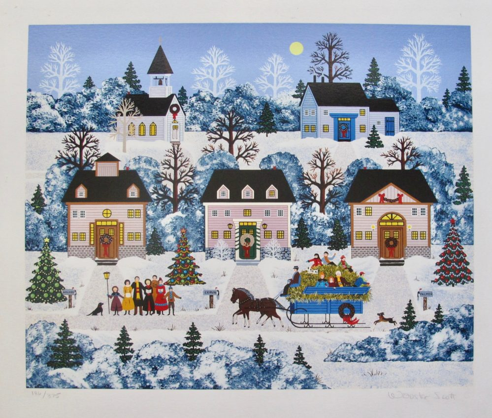 Jane Wooster Scott HOLIDAY SLEIGH RIDE Hand Signed Limited Edition Serigraph