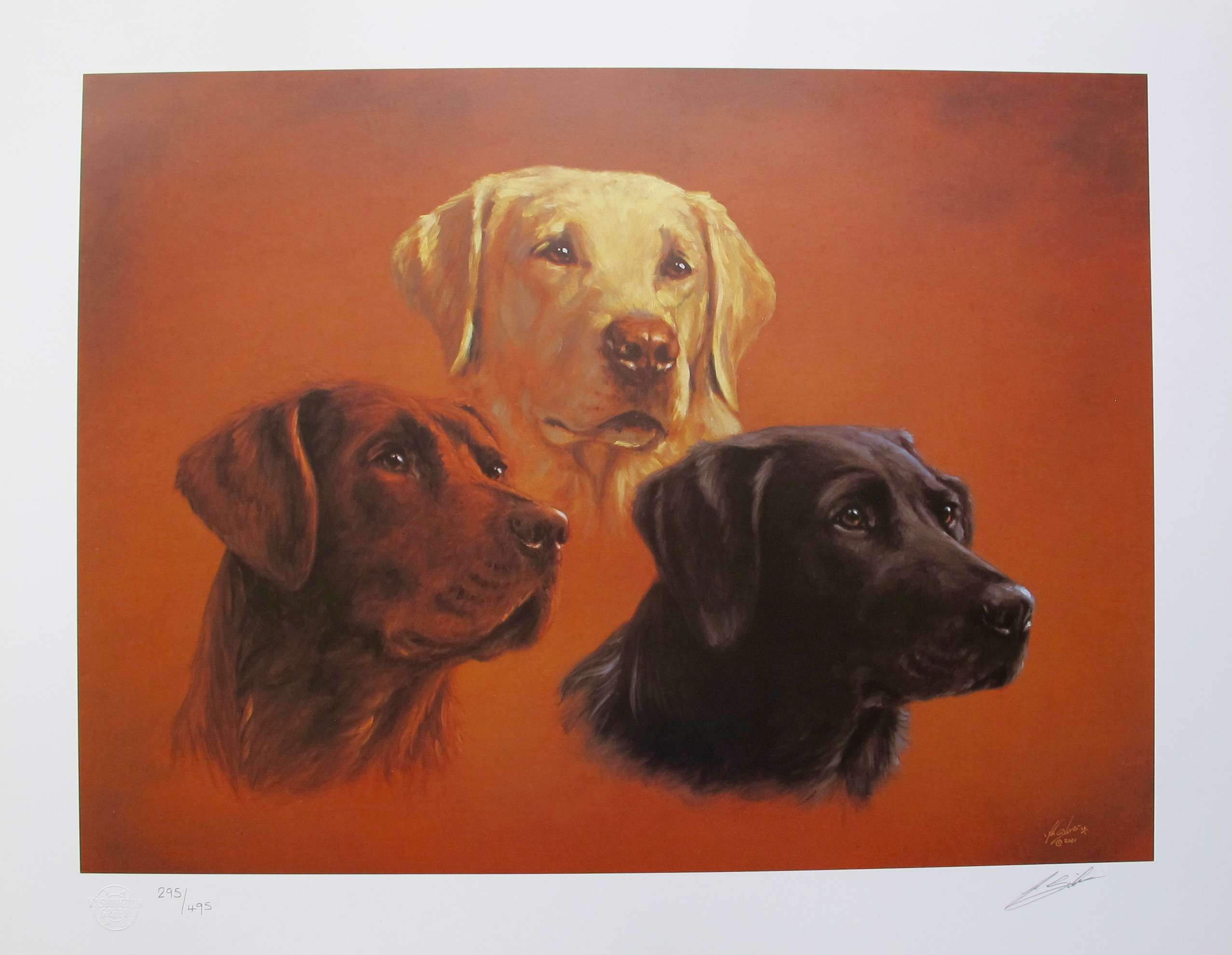 JOHN SILVER FAITH HOPE & CHARITY DOGS Hand Signed Limited Edition Art Lithograph