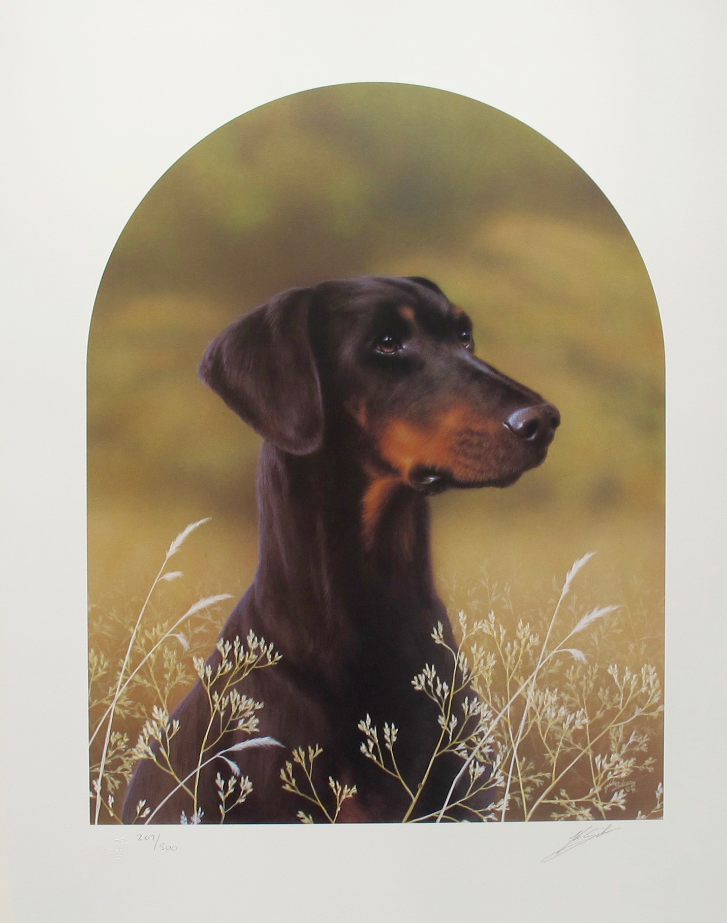 JOHN SILVER DOBERMAN DOG Hand Signed Limited Edition Art Lithograph