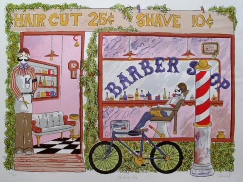 Tom Wood BARBER SHOP Hand Signed Limited Edition Lithograph
