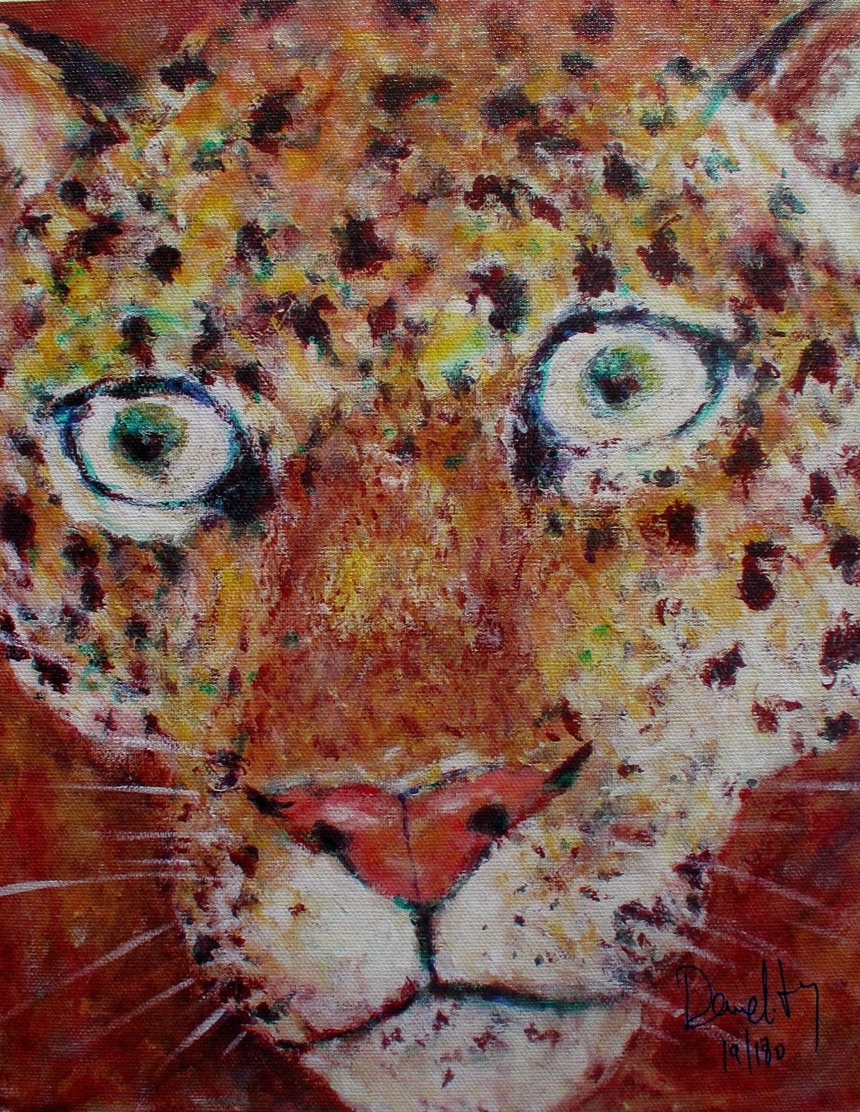 Jacques Demelitz LEOPARD Hand Signed Limited Edition Giclee on Canvas