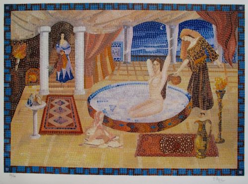Irel CLEOPATRA'S MILK BATH Hand Signed Limited Edition Etching