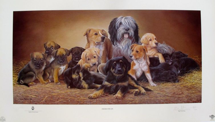 NIGEL HEMMING DOGS & PUPPIES FRIENDS FOR LIFE Hand Signed Ltd Edition Lithograph