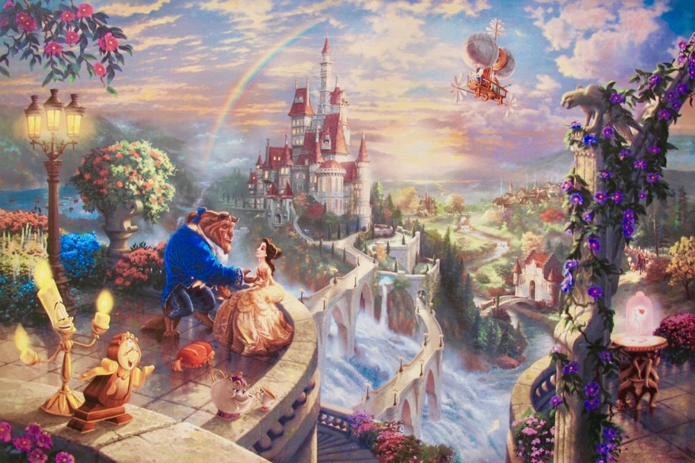 THOMAS KINKADE Beauty and the Beast Giclee on Canvas
