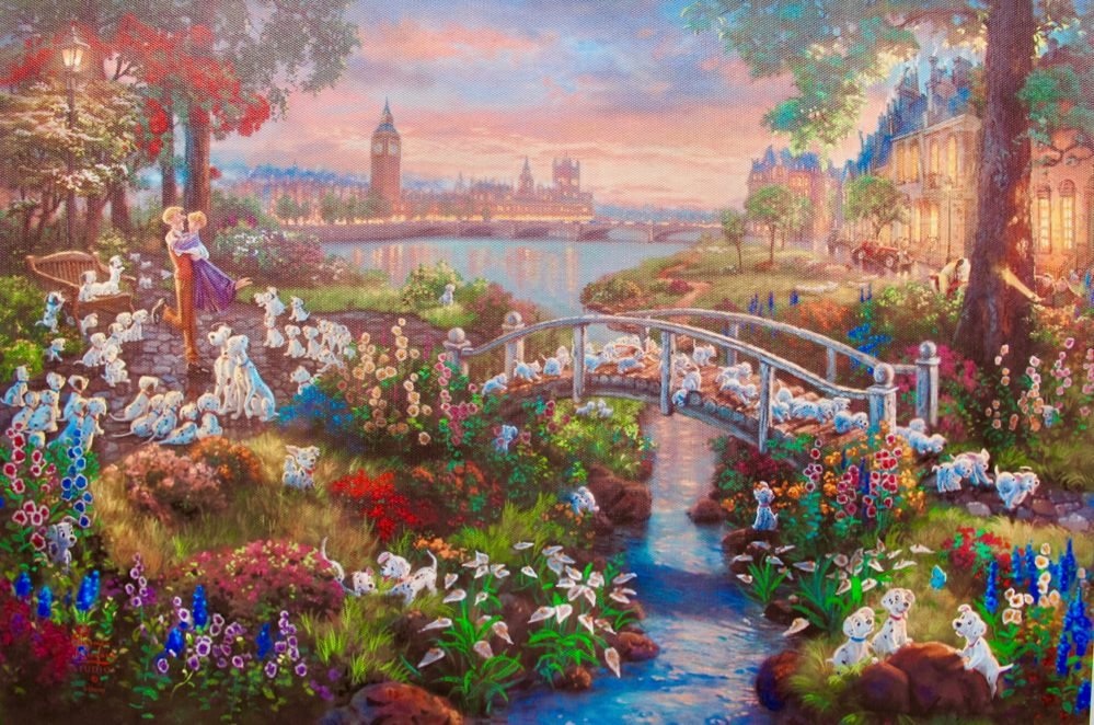 THOMAS KINKADE 101 Dalmations Giclee on Canvas