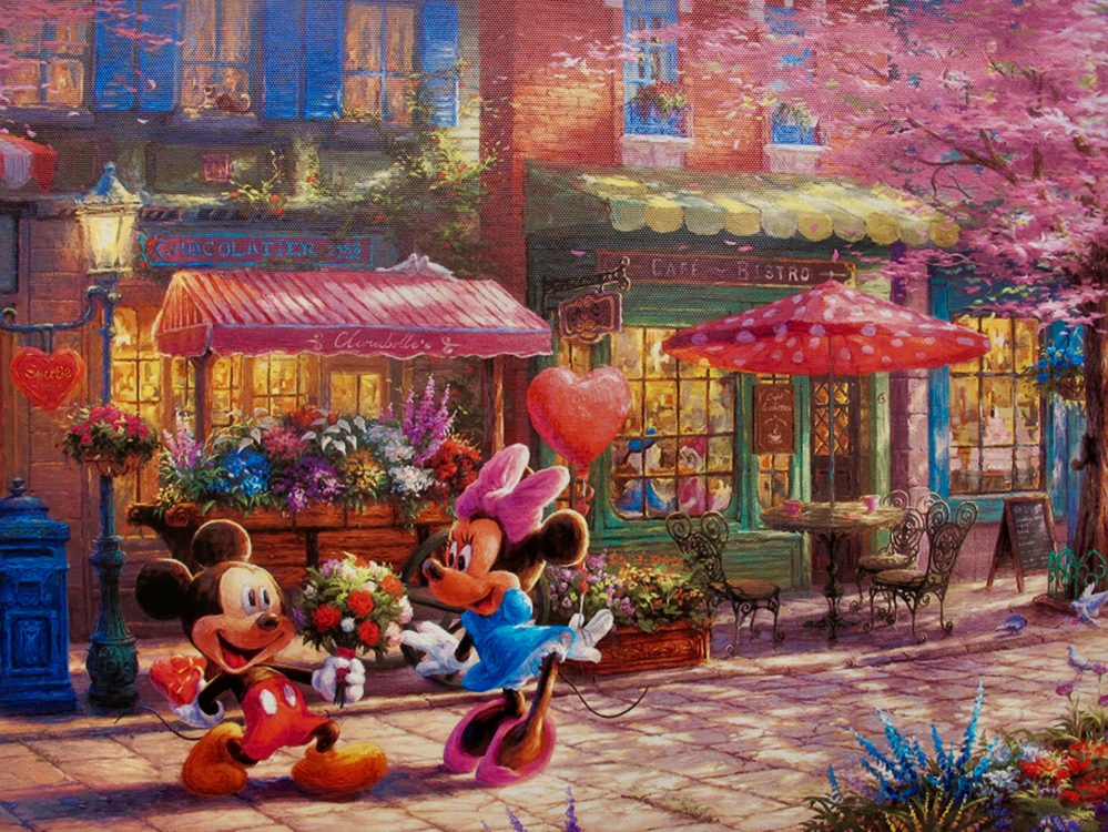 Disney MICKEY MINNIE MOUSE SWEETHEART CAFE Art Giclee on Canvas