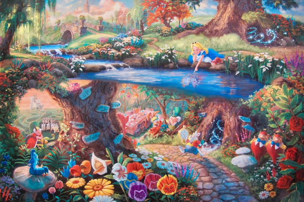 THOMAS KINKADE Alice in Wonderland Giclee on Canvas