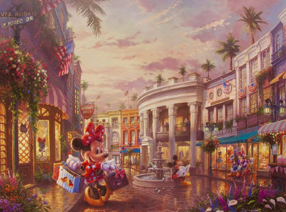Disney MICKEY & MINNIE MOUSE ON RODEO DRIVE BEVERLY HILLS Giclee on Canvas