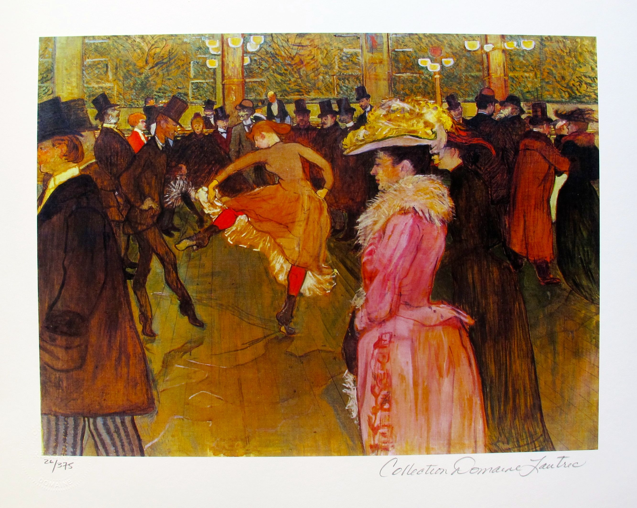 Henri Toulouse Lautrec CABARET DANCE AT THE MOULIN ROUGE Estate Signed Small Giclee