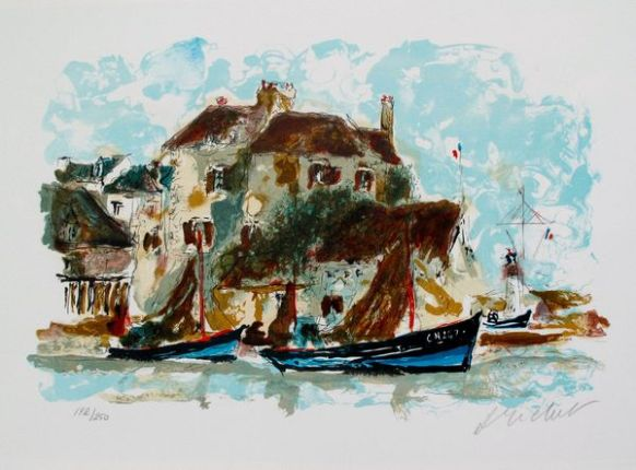 Urbain Huchet LE PETIT PORT Limited Edition Hand Signed Lithograph