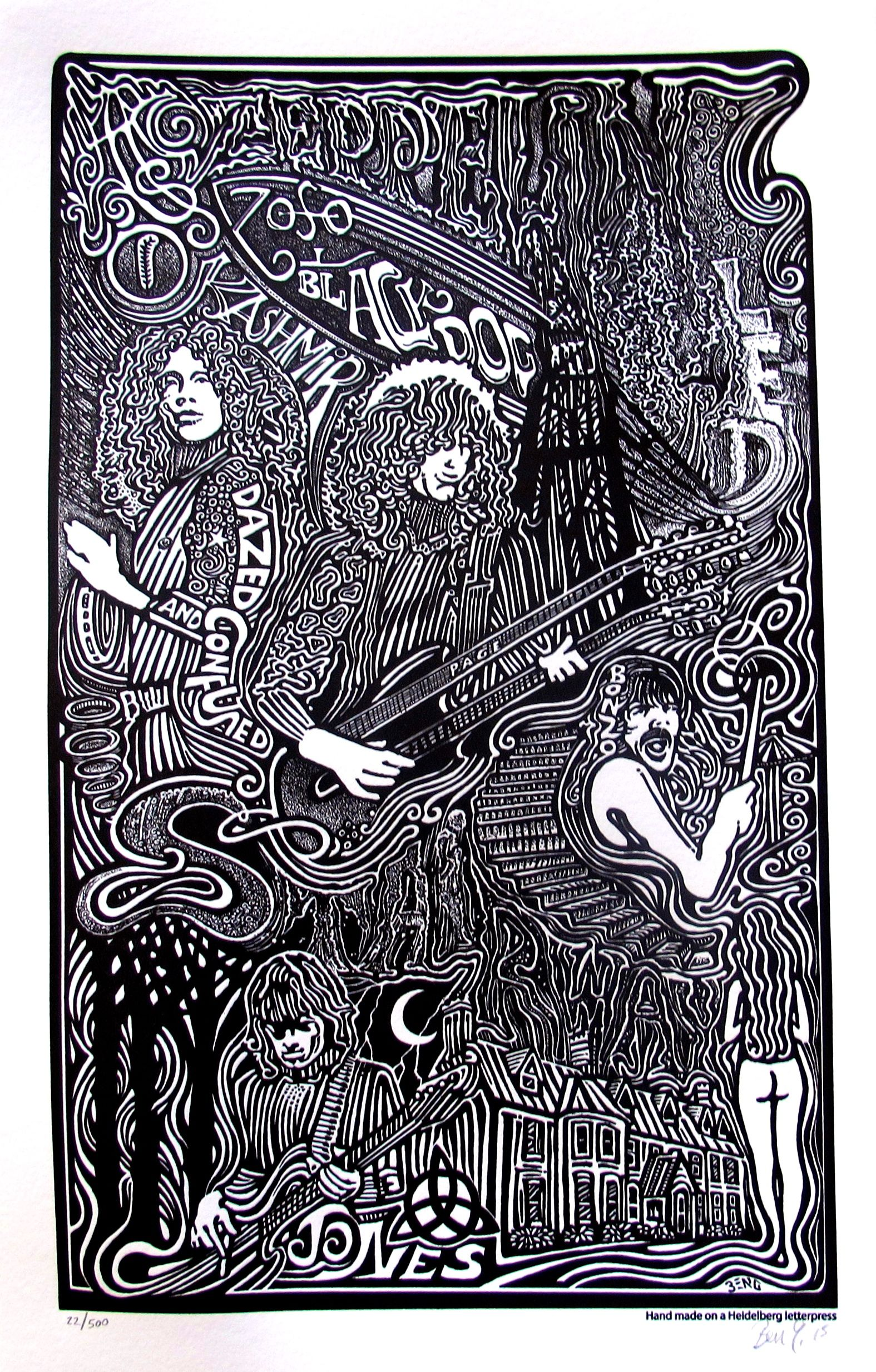LED ZEPPELIN Psychedelic Hand Signed Posterography Letterpress ART