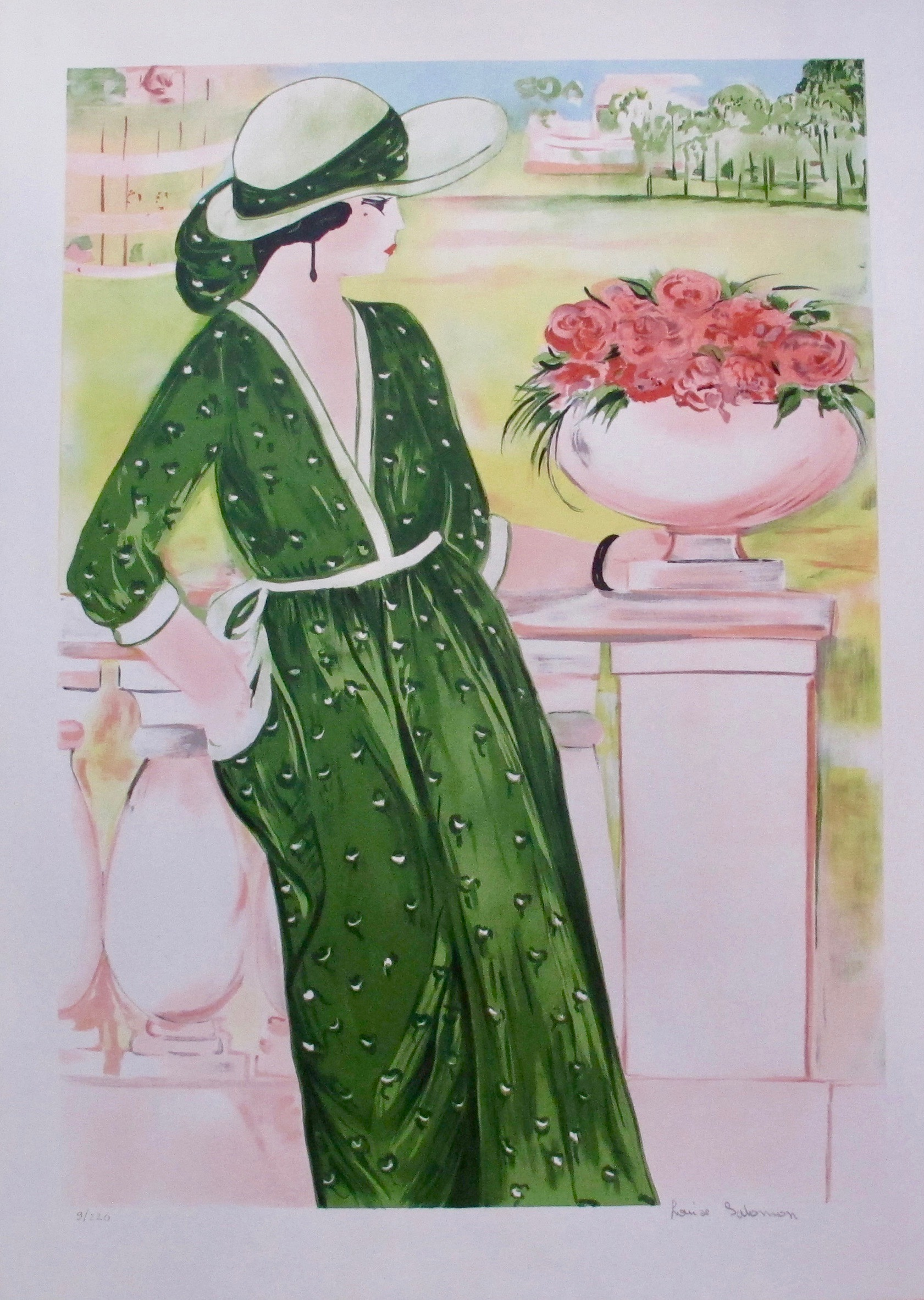 LOUISE SALOMON La Belle En Vert Hand Signed Limited Edition Lithograph