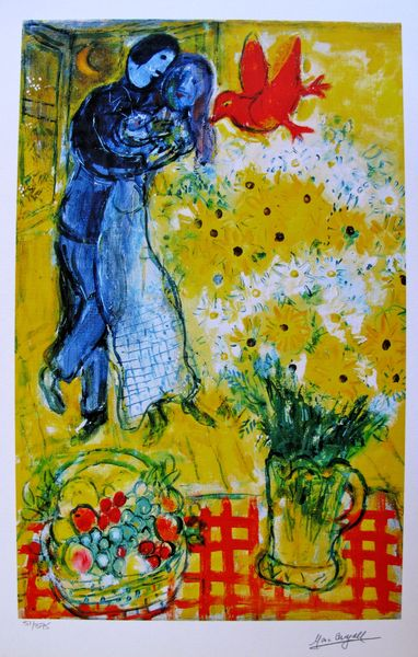 Marc Chagall LOVERS AND DAISIES Limited Edition Facsimile Signed Small Giclee