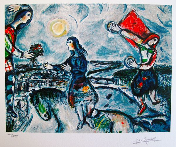 Marc Chagall LOVERS OVER PARIS Limited Edition Facsimile Signed Small Giclee