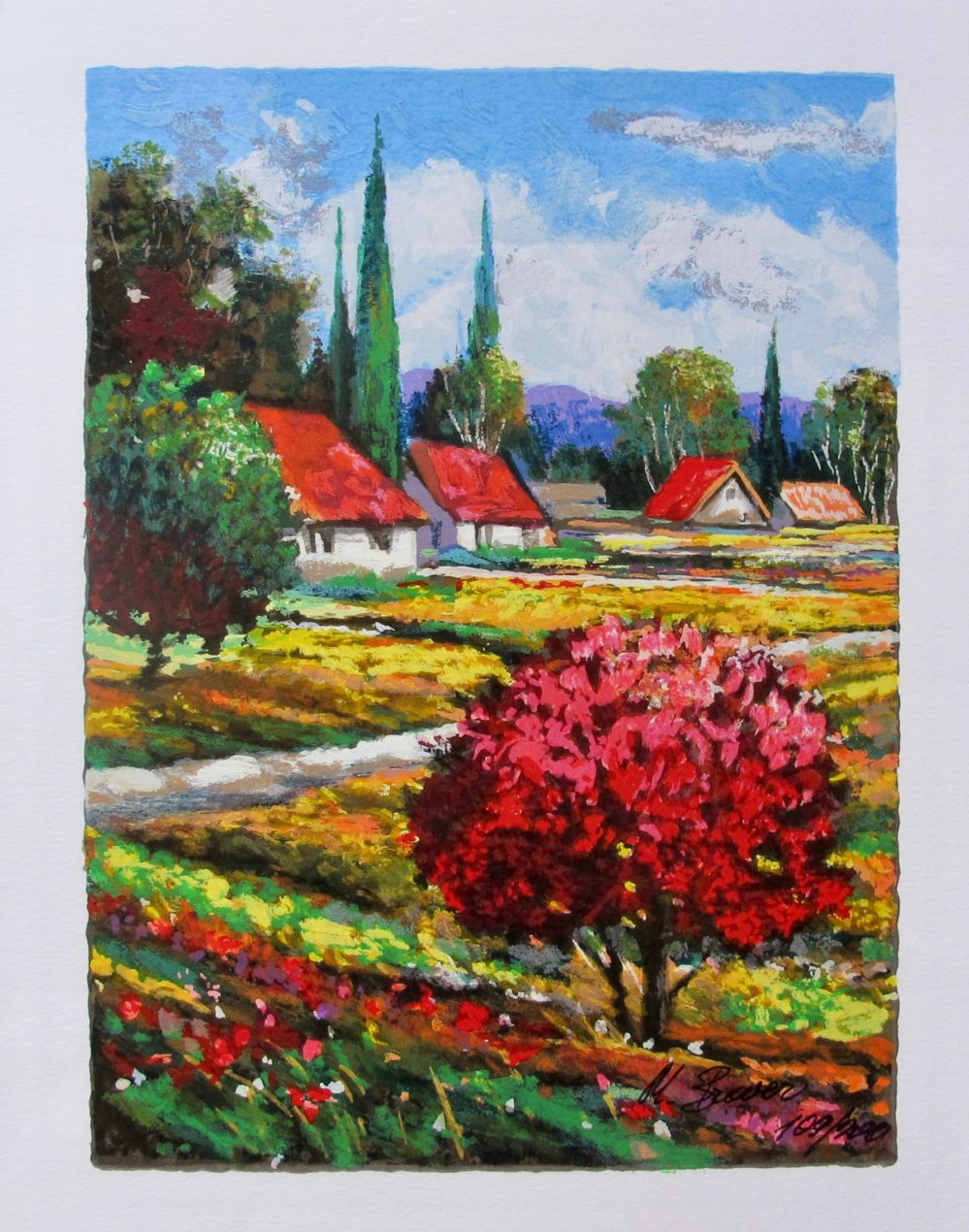 """MARK BRAVER """"A TREE ABLAZE"""" Hand Signed Limited Edition Serigraph"""