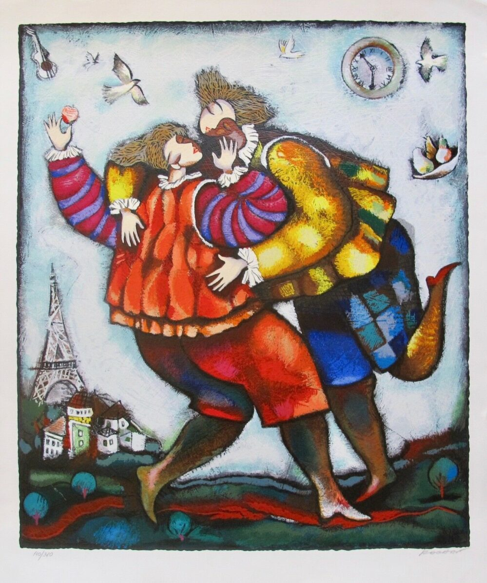 MICHAEL KACHAN THE KISS Hand Signed Limited Edition Serigraph