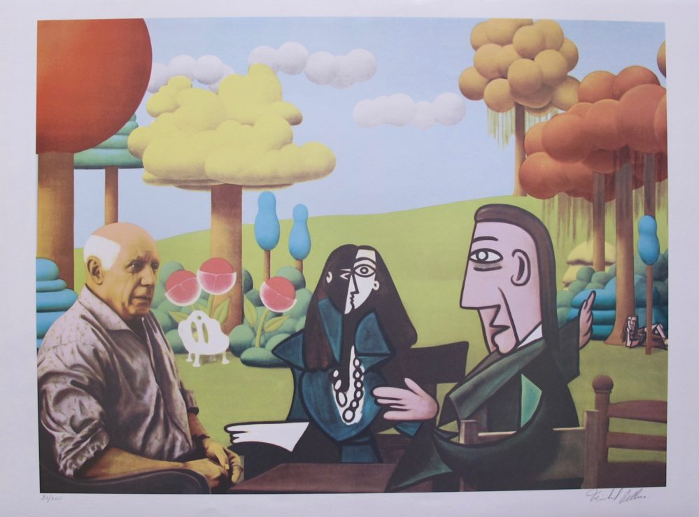 """This is a lithograph by Michel Pellus titled """"Homage to Salvador Dali""""."""