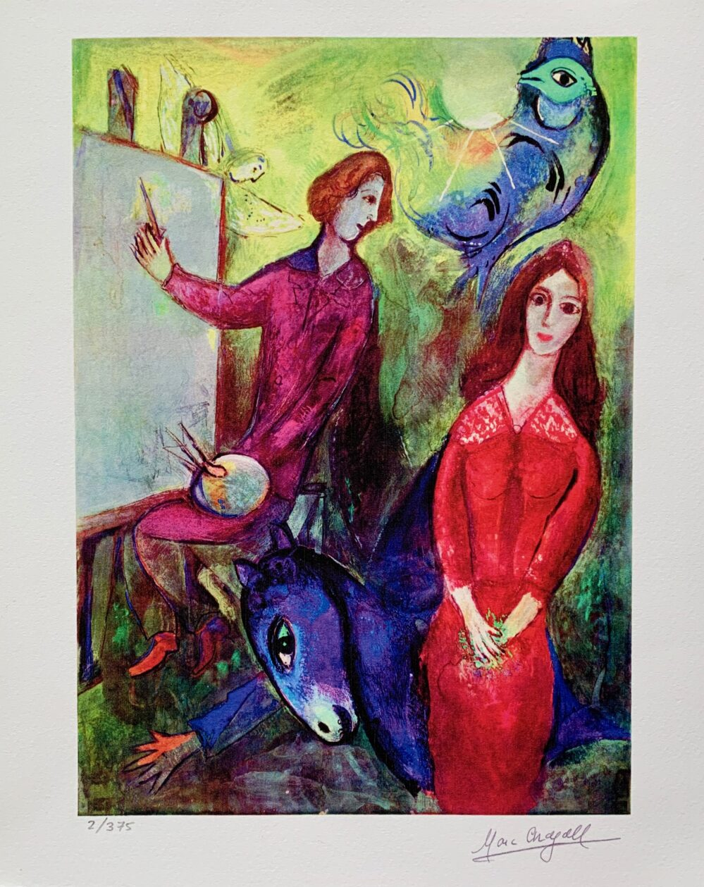 """Marc Chagall ARTIST & HIS MODEL Limited Edition Facsimile Signed Giclee 12"""" x 10"""""""