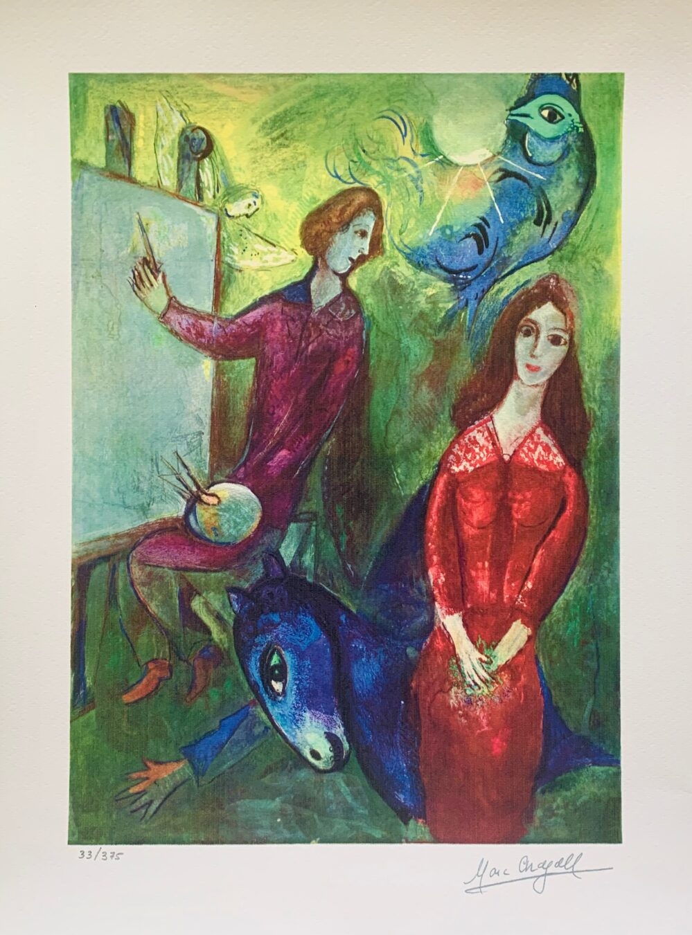 Marc Chagall ARTIST & HIS MODEL Limited Edition Facsimile Signed Small Giclee