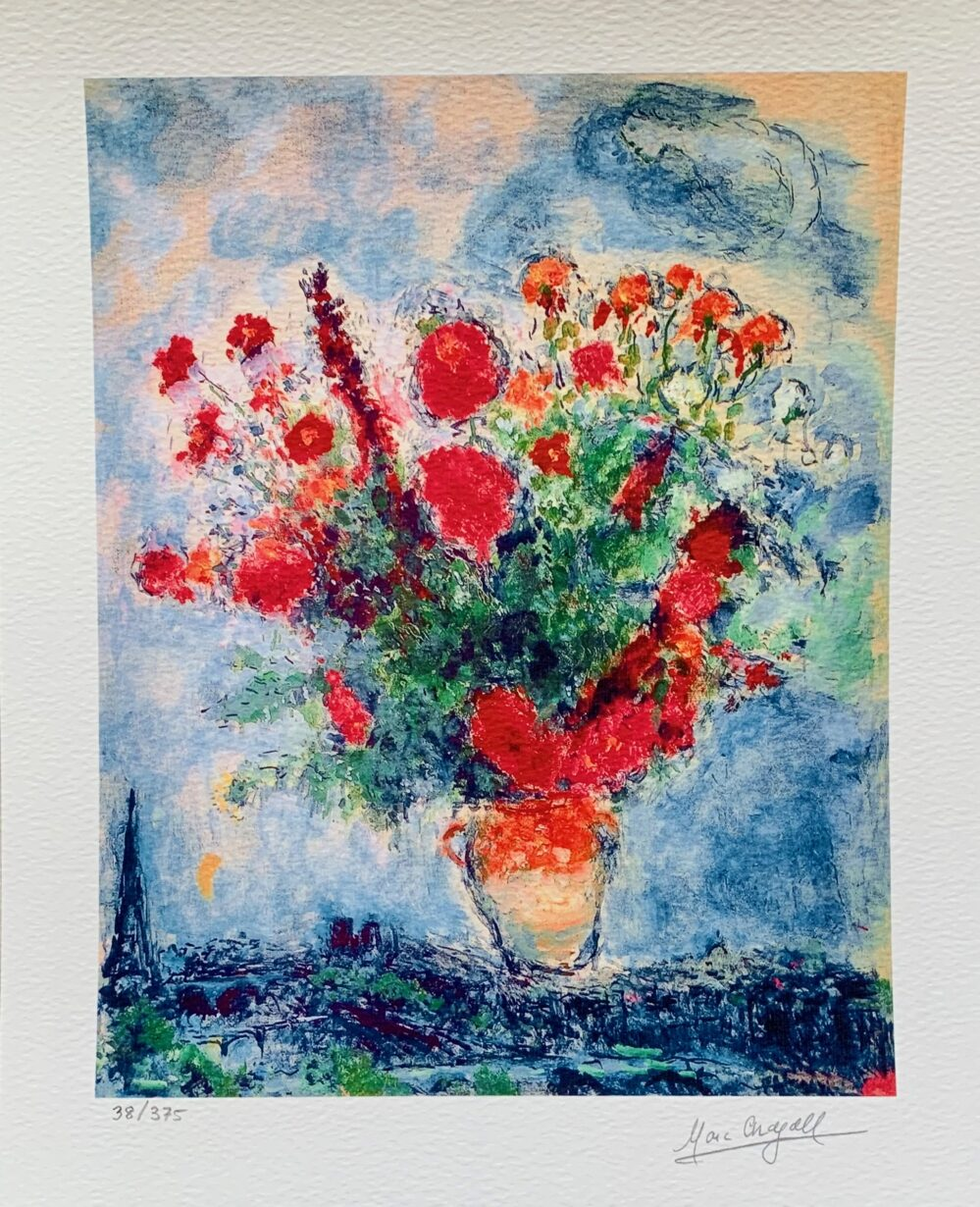 Marc Chagall BOUQUET OVER PARIS Limited Edition Facsimile Signed X-Small Giclee