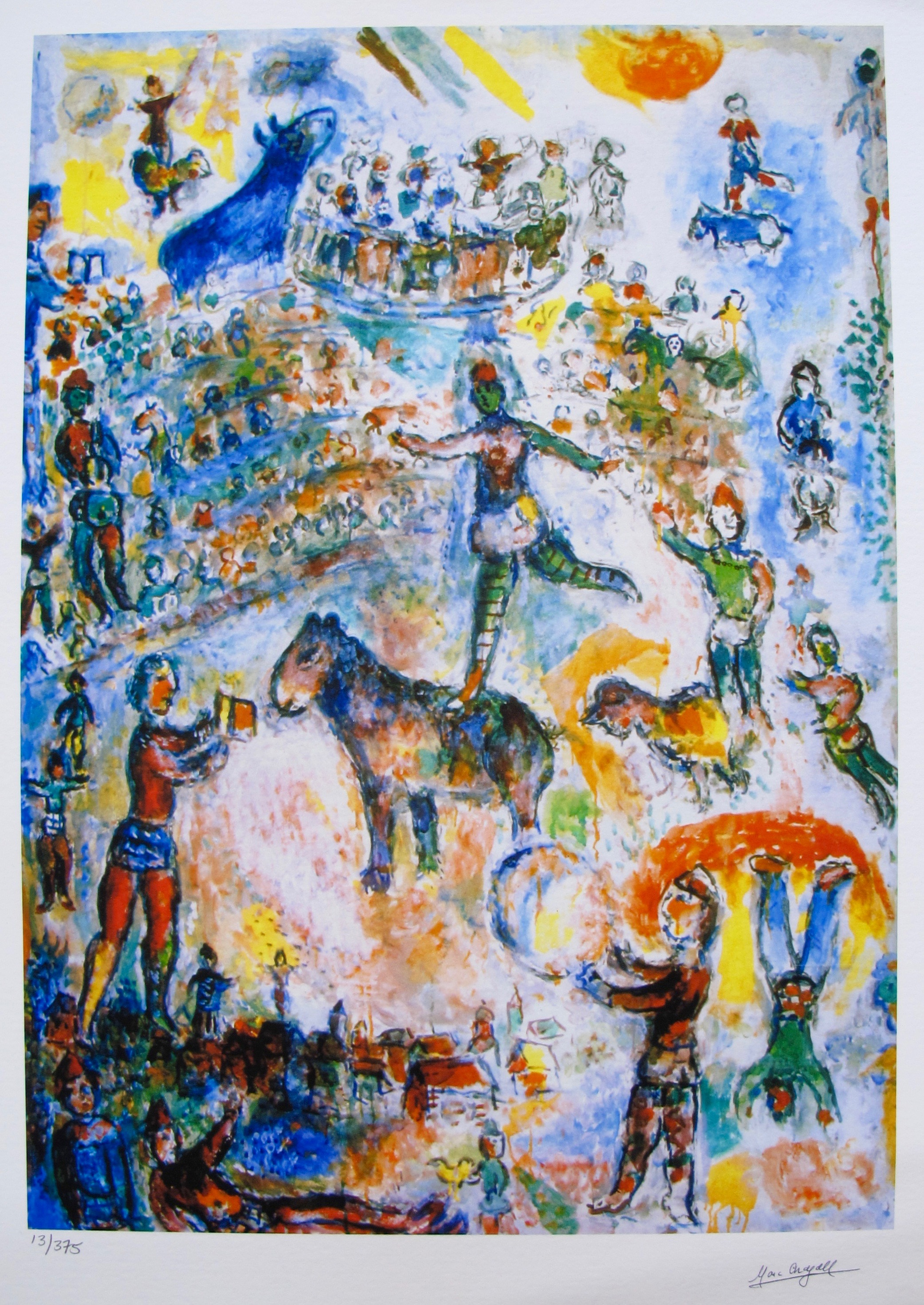 Marc Chagall CIRCUS GRAND Limited Edition Facsimile Signed Small Giclee