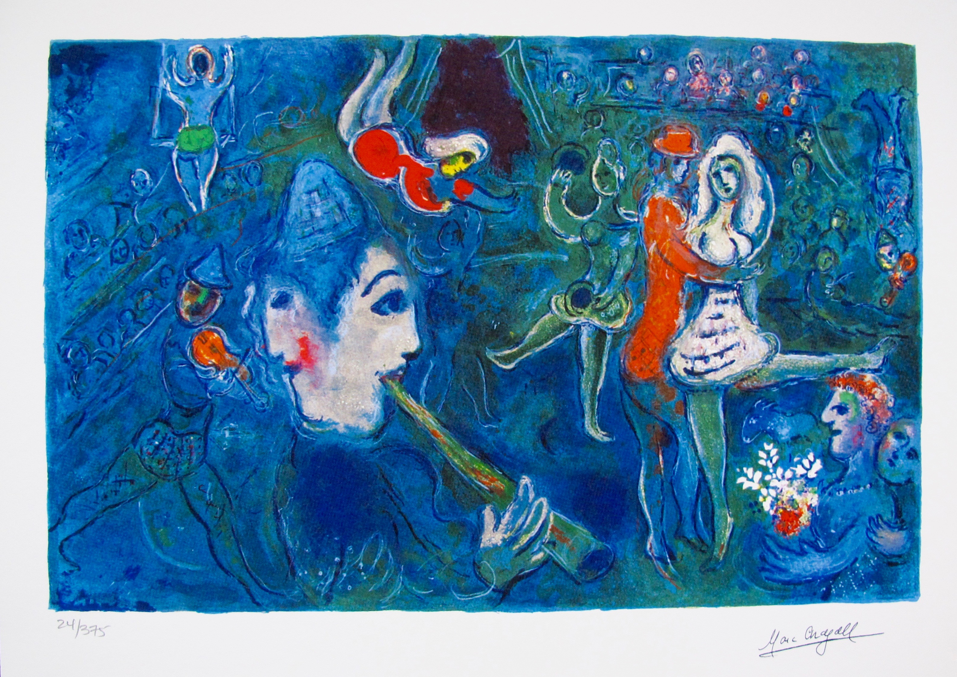 Marc Chagall CIRCUS CLOWN & DANCER Limited Edition Facsimile Signed Small Giclee
