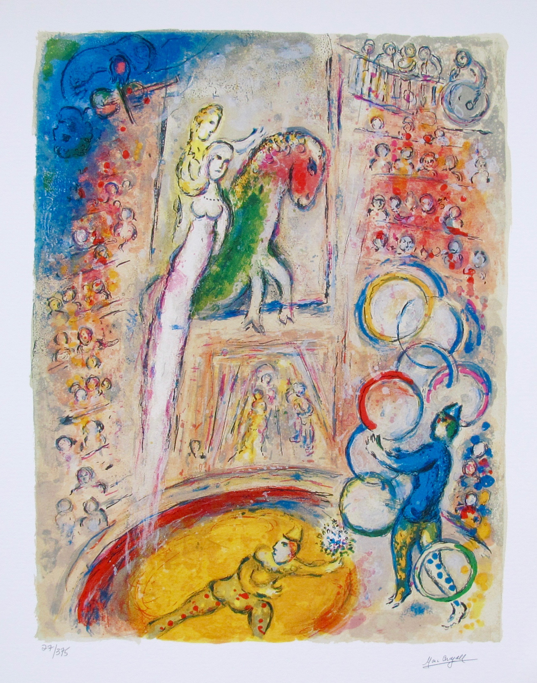 Marc Chagall CIRCUS IV Limited Edition Facsimile Signed Small Giclee
