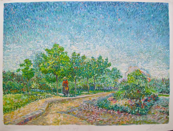 Van Gogh CORNER IN VOYER D'ARGENSON PARK AT ASNIERES Hand Signed Lithograph by Marc Kniebihler
