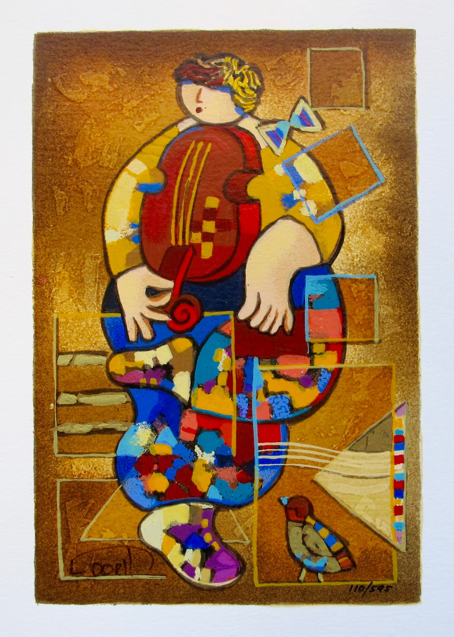 Dorit Levi MERRY VIOLIN Hand Signed Limited Edition Serigraph