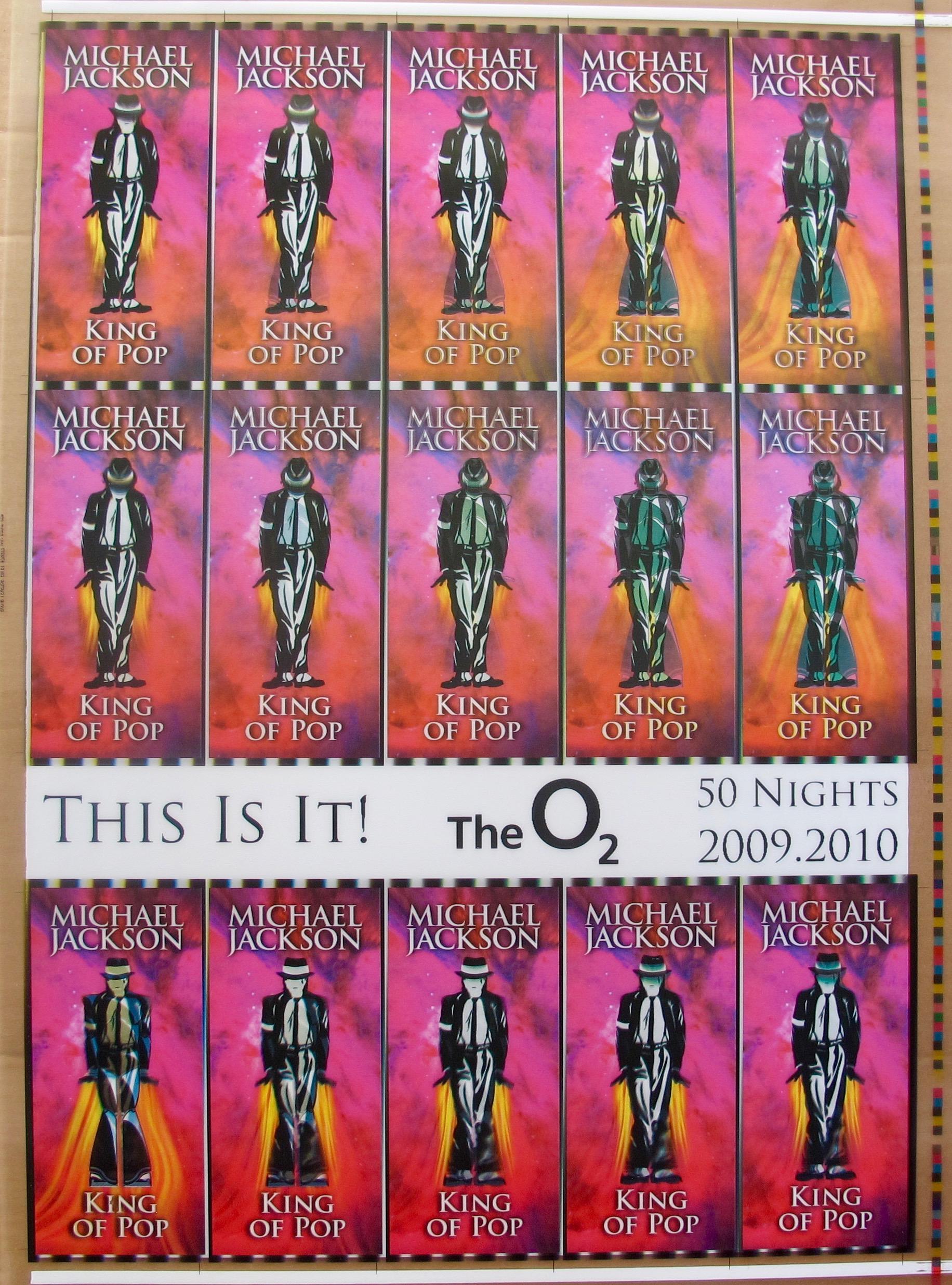 MICHAEL JACKSON THIS IS IT Original Undistributed Hologram AEG Concert Ticket Sheet #3