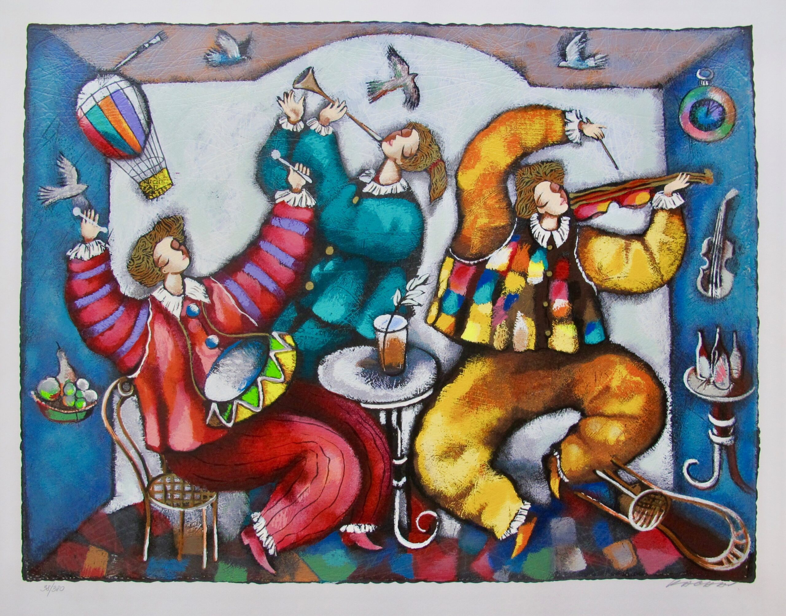 MICHAEL KACHAN CARNIVAL Hand Signed Limited Edition Serigraph Art
