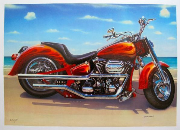 Valter Morais COOL RIDE MOTORCYCLE Hand Signed Limited Edition Serigraph