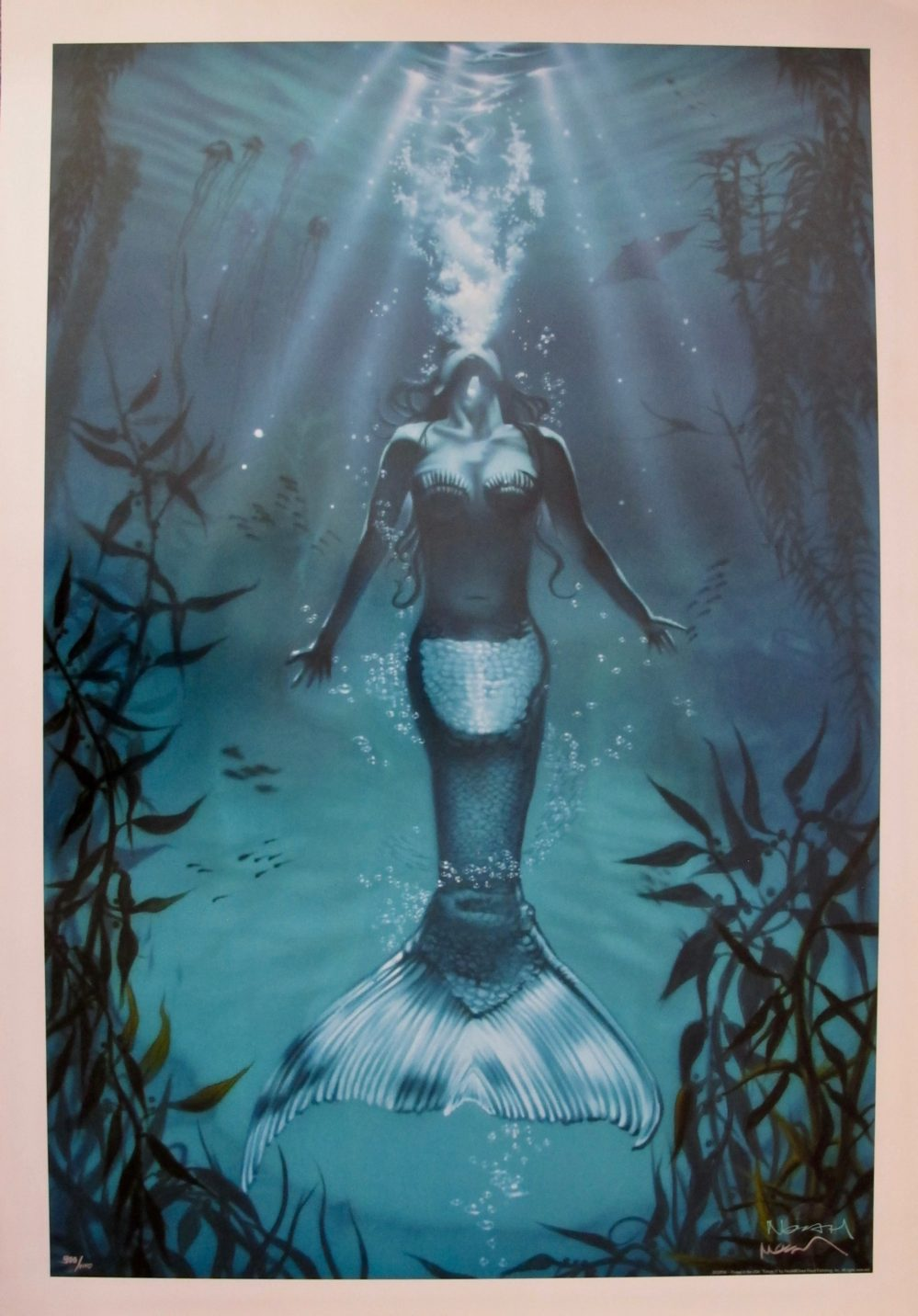 "NOAH ""EXHALE II"" Hand Signed Limited Edition Lithograph MERMAID ART"