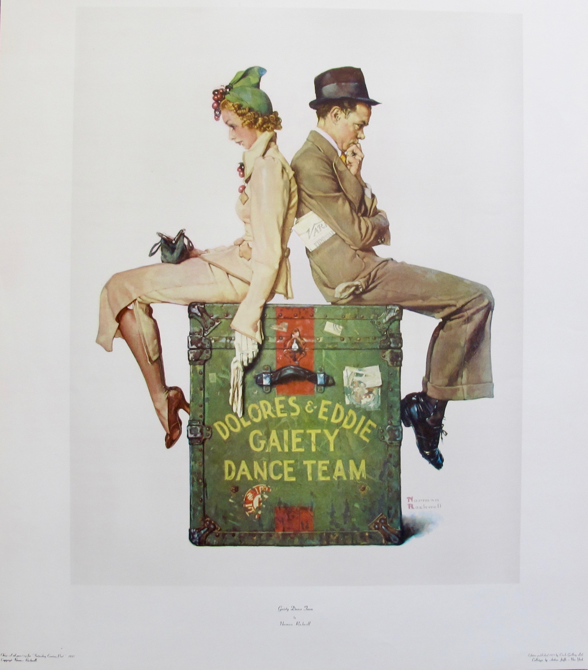 NORMAN ROCKWELL GAIETY DANCE TEAM 1975 Plate Signed Collotype Art