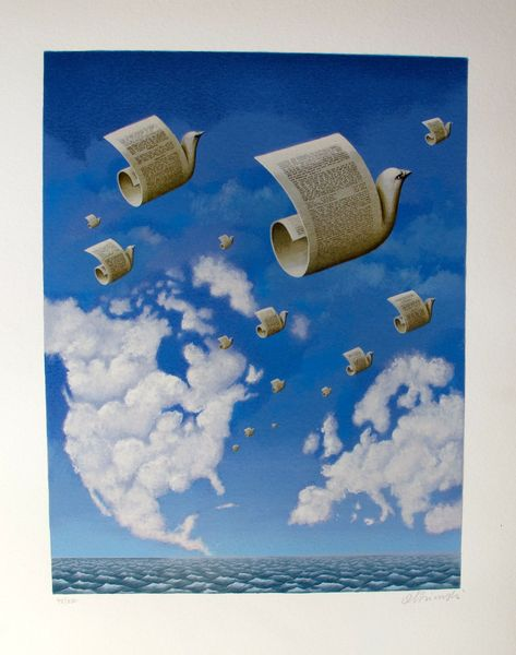 Rafal Olbinski LETTERS TO EUROPE Hand Signed Limited Ed. Serigraph