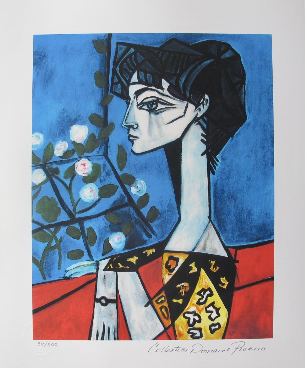 Pablo Picasso JACQUELINE ROQUE & FLOWERS Estate Signed Limited Edition Giclee
