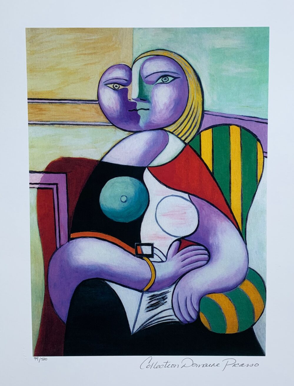 Pablo Picasso LADY IN STRIPED CHAIR Estate Signed Limited Edition Giclee Medium