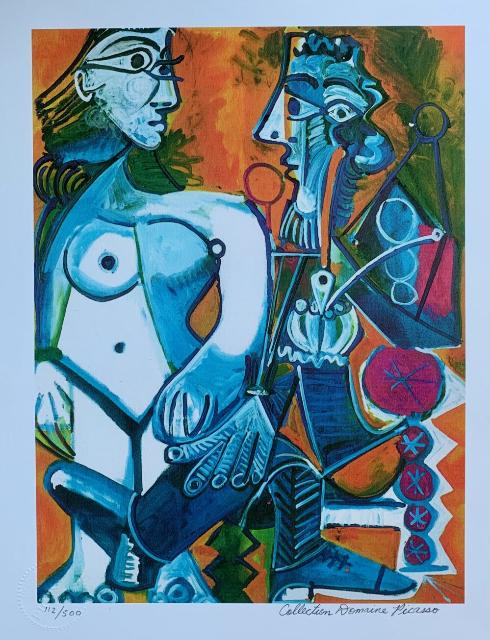 Pablo Picasso MAN WITH NUDE WOMAN Estate Signed Limited Edition Small Giclee