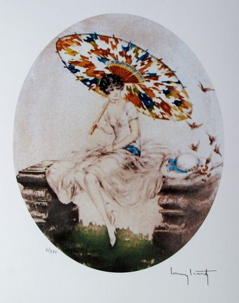 Louis Icart PARASOL Facsimile Signed Limited Edition Giclee Small