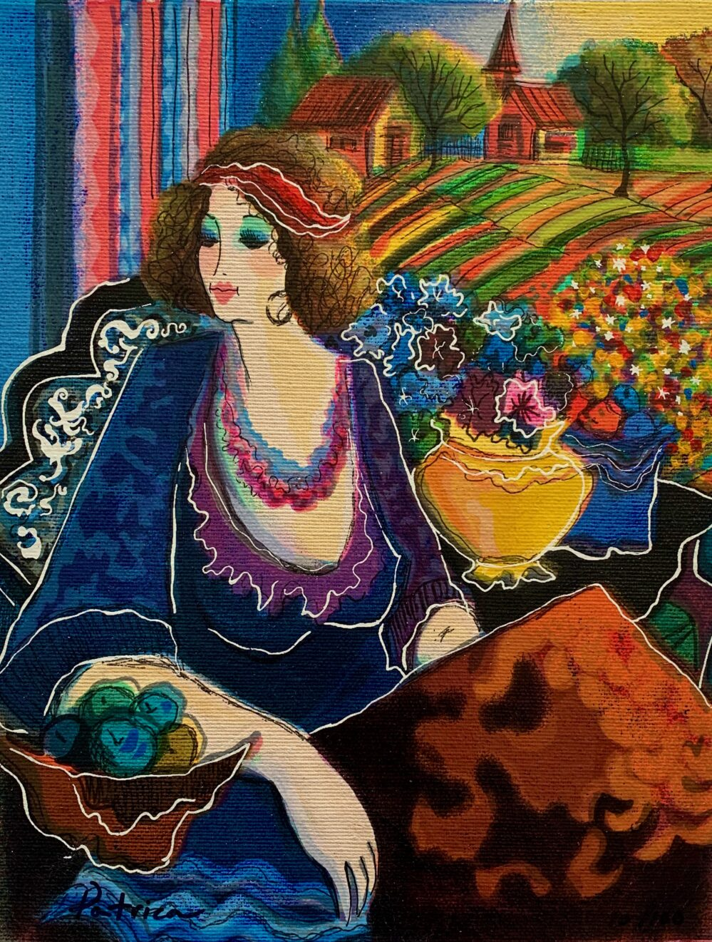 Patricia Govezensky LADY BY THE MEADOW Hand Signed Canvas Serigraph