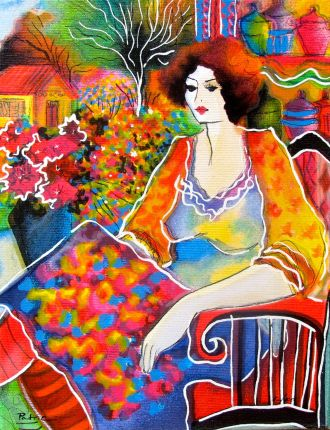 Patricia Govezensky LADY WITH FLOWER VIEW Hand Signed Serigraph on Canvas