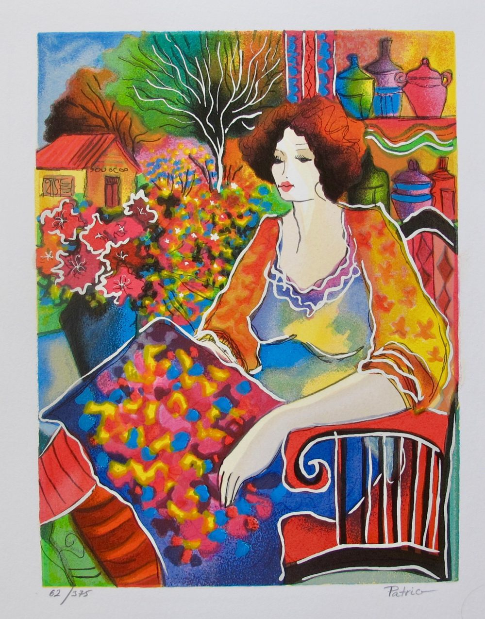 Patricia Govezensky LADY WITH FLOWERS Hand Signed Limited Edition Serigraph