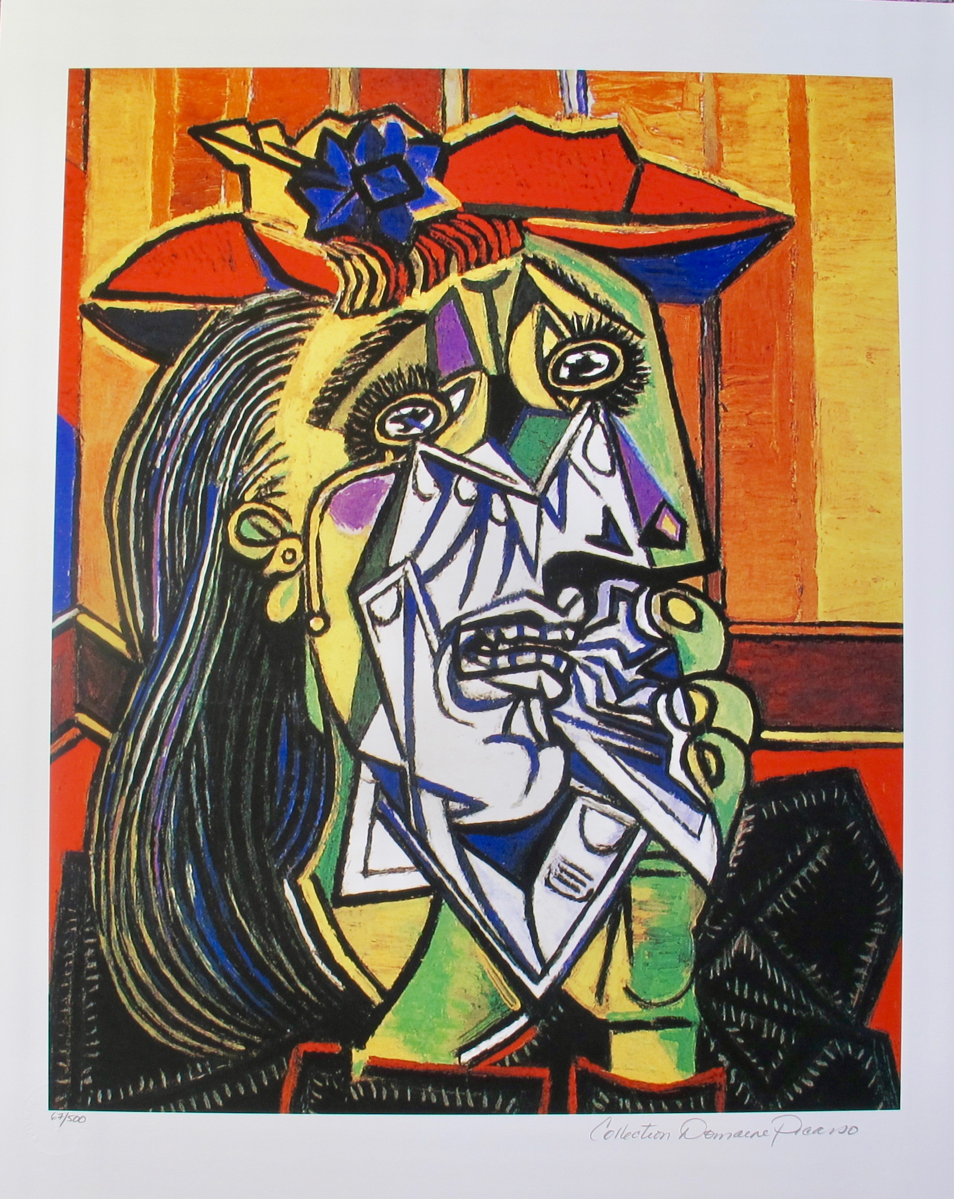 #24 WEEPING WOMAN WITH RED HAT Pablo Picasso Estate Signed Giclee